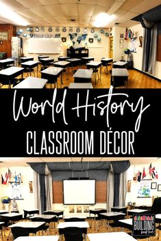 Middle School World History Classroom: Inspiration for a small and windowless classroom - Building Book Love - World History or World Literature Classroom Decor Informations About Middle School World History Cla - High School World History, World History Classroom, Middle School History, World History Lessons, History Teachers, Teaching History, History Education, History Projects, Music Education