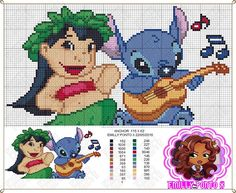Lilo e Stitch Kawaii Cross Stitch, Cross Stitch Baby, Cross Stitch Animals, Beaded Cross Stitch, Cross Stitch Embroidery, Disney Stitch, Lilo En Stitch, Graph Crochet, Crochet Cross