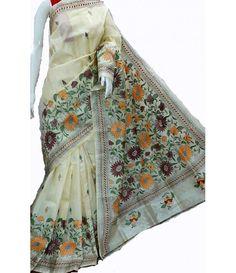 White Kantha Work Silk Saree