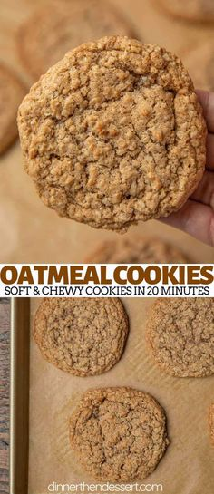 Oatmeal Cookies are the BEST soft and chewy cookie recipe made with quick cooking oats brown sugar cinnamon and vanilla extract ready in under 20 minutes Oatmeal Cookies. Cookie Dough Vegan, Oat Cookie Recipe, Oatmeal Cookie Recipes, Easy Cookie Recipes, Flour Recipes, Simple Oatmeal Cookie Recipe, Quick Oat Cookies, Healthy Oatmeal Cookies, Oatmeal Chocolate Chip Cookies