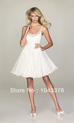 Custom Made Semi Formal Dresses White Ball Gown Scoop Beautiful Beading Chiffon Short Corset Homecoming Dress 2014
