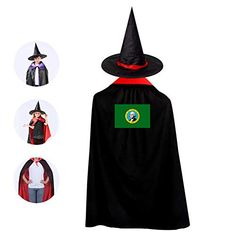 5df94750fd784 US Flag of Washington State Kids Cloak Suit Halloween Vampire Cowl Magic  Costume Cosplay Cape + Mage Hat Boys Girls Red