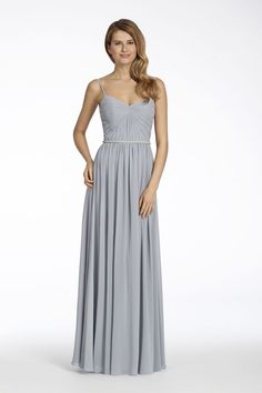 Hayley Paige Occasions style 5701 | Platinum chiffon A-line bridesmaid gown, draped bodice, gathered skirt, natural waist with Alabaster beaded trim.