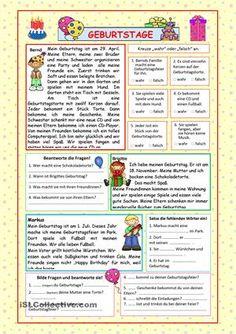 Leicht verständliche Texte über Geburtstagsfeiern mit Verständnisübungen. 2 Seiten + Lösung. - DaF Arbeitsblätter