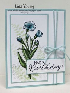 I used the newest Blendabilites to color the flower. Then I added a subtle background with other images. No embossing, no embellishments other than the bit of Cotton Twine. I let the flower stand alone. My blog post: http://addinkandstamp.blogspot.com/2015/01/a-blue-flower.html  TFL. Lisa Young