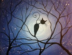 Whimsical Cat Painting Counting Stars by MichaelHProsper
