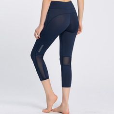 Mesh Splicing Reflective Night Runs Fitness Capri Legging