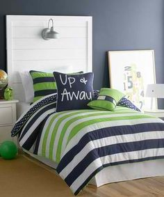 When I do the nursery I will be doing Aiden's room too and I am loving navy  green for a big boy room!