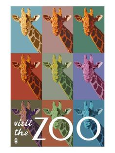 Giraffe - Pop Art - Visit the Zoo - Lantern Press ArtworkQuality Poster Prints Printed in the USA on heavy stock paper Crisp vibrant color image that is resistant to fading Standard size print, ready for framing Perfect for your home, office, or a gift Pop Art Posters, Cool Posters, Poster Prints, Art Prints, Zoo Giraffe, Giraffe Print, Giraffes, Zoo Signage, Zoo Art