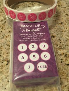 Make Up Rewards  Younique Loyalty Program - Printed, ready to use loyalty cards. Complete the backs with your information.  https://www.etsy.com/listing/234101814/yearend-sale-open-for-coupon-code-save