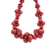 Your place to buy and sell all things handmade Wooden Bead Necklaces, Wooden Beads, Cluster Necklace, Beaded Necklace, Bubbles, Buy And Sell, Red, Handmade, Stuff To Buy