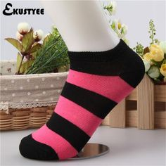 New Summer Thin Cotton Socks Casual Good Quality Striped Meias Women Sock Slippers Female Gift Ekustyee
