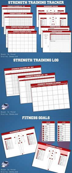 Strength Training Log| Fitness Planner| Workout Log| Weight Lifting Log| Measurement Tracker #ad