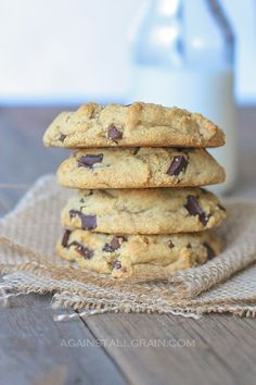 Real Deal Chocolate Chip Cookies Stack from Against All Grain by Danielle Walker