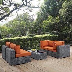 - Summon 5 Piece Outdoor Patio Sunbrella® Sectional Set in Canvas Tuscan