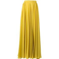 Elie Saab pleated slit maxi skirt ($1,497) ❤ liked on Polyvore featuring skirts, yellow maxi skirt, slit skirt, silk pleated skirt, long yellow skirt and ankle length skirts