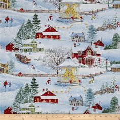 Winter's Eve Scenic Multi from @fabricdotcom  Designed by John Sloane for Wilmington Prints, this cotton print fabric is perfect for quilting, apparel and home decor accents. Colors include black, brown, red, blue, beige, green, orange, yellow and white.