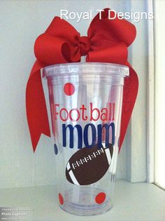 16oz Football Mom Personalized Tumbler by RoyalTDesigns on Etsy, $14.00
