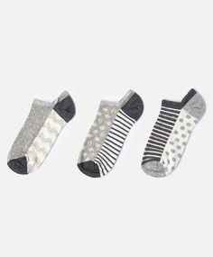 3er-Pack knöchellange Zickzack-Socken