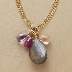 """LINKED LINKS NECKLACE�--�Two 14kt goldfilled strands linked with beads present a dangling cluster of ruby, amethyst, Oregon sunstone and labradorite briolettes. Lobster clasp. Handmade in USA by Thoi Vo. 15"""" to 18""""L. �"""
