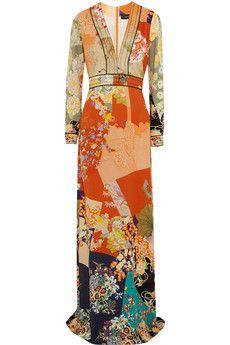 Gucci Printed silk crepe de chine gown | NET-A-PORTER