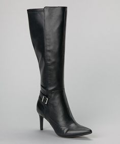 Another great find on #zulily! Black Leather Raveah Buckle Boot by Calvin Klein #zulilyfinds