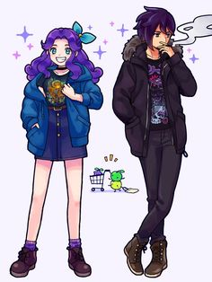 Stardew Valley inspired concept art of Modern Abigail and Sebastian Girls Anime, Anime Couples Manga, Cute Anime Couples, Manga Girl, Anime Guys, Stardew Valley Elliott, Stardew Valley Fanart, Genesis Evangelion, Studio Ghibli