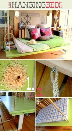 DIY Hanging Bed. My back patio needs this in it's life!