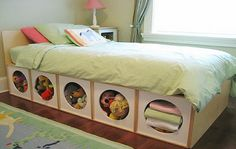This is quite amazing and easy DIY projects. Today we'll share a DIY storage bed project with you. Now you can organize and store your things at home by keeping them in storage space in your bed Diy Storage Bed, Small Bedroom Storage, Under Bed Storage, Storage Spaces, Storage Ideas, Creative Storage, Toy Storage, Clothes Storage, Kids Storage