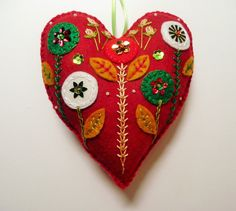 Felt Heart Ornament with Flowers / Floral by heartfeltwhimsy