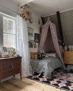Loving all the little details of this little girls room. And that rug. And that wallpaper!Loving all the little details of this little girls room. And that rug. And that wallpaper! Moving Out, French Farmhouse, Little Girl Rooms, Baby Room Decor, Kidsroom, Kids Bedroom, Toddler Bed, Contemporary, Interior