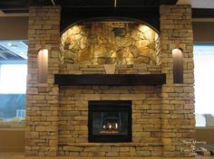 Fascinating Yellow Stone Brick Fireplace Wall Design With Black Painted Ash Wood Fireplace Frame For Castle Fireplace Design