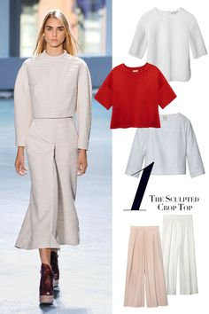 """""""Choose sophisticated structured silhouettes in luxe materials—silk, duchesse satin, techno-wool mixes—that reach at least two inches below the breast line. Wear with: high-waisted matching pants or skirt, your best madam-y heels, no visible navel"""" Harpersbazaar.com"""