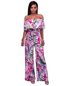 Floral Print Ruffle Off Shoulder Wide Leg Overalls Casual Women Strapless Holiday Sashes One Piece Jumpsuit Long Beach Catsuit Strapless Jumpsuit, Floral Jumpsuit, Bodycon Jumpsuit, Rompers Women, Jumpsuits For Women, Fashion Jumpsuits, Women's Rompers, Long Jumpsuits, Playsuits