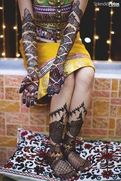 Mehendi Designs - Bridal Hand and Feet Mehendi | WedMeGood | Bridal Hand Zig Zag Mehendi Design and Peacock Design on Feet Mehendi | Find More Mehendi Inspirations on wedmegood.com #wedmegood #mehendi #bridal