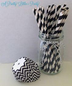 Black Chevron PARTY PACK - Chevron Cupcake Liners - Striped Straws - Party supplies. $5.99, via Etsy.