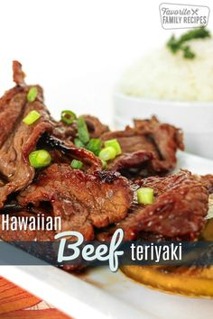 Hawaiian beef teriyaki is a favorite of mine from when I lived in Hawaii. The teriyaki sauce is out of this world good. Great with a plate lunch! via Hawaiian beef teriyaki is a favorite of mine from when I lived in Hawaii. The teriyaki sauce i Sliced Beef Recipes, Best Beef Recipes, Beef Recipes For Dinner, Asian Recipes, Cooking Recipes, Thin Steak Recipes, Ono Kine Recipes, Sauce Teriyaki, Teriyaki Beef