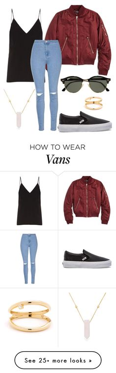 """""""#No name"""" by eemaj on Polyvore featuring Topshop, Raey, Glamorous, Vans, Alex and Ani and Ray-Ban"""