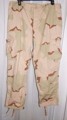 US Army Combat Pants Trousers Desert Camouflage Camo Mens sz Large-Short