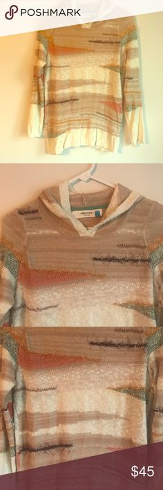 """Anthropologie Sparrow Elvra Hooded Sweater Small Excellent condition. Eclectic little boho sweater with a textured weave. Anthropologie's Sparrow brand. Nice earthy tones and lightweight for warmer weather. Size small. Measurements taken laid flat: bust approximately 19"""", length approximately 26"""" Anthropologie Sweaters V-Necks"""