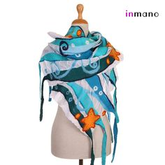 nuno felted scarf blue ocean  silk and wool nuno felted by inmano, $109.00