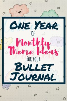 Creative Organization: One Year of Monthly Theme Ideas for your Bullet Journal. Bujo Theme Inspiration. Planner illustration ideas. Never run out of monthly theme ideas for your bullet journal ever again! These 12 inspirational bullet journal monthly theme ideas will make your bujo the envy of your friends. Never worry about finding ideas to decorate your page setup again and make your layouts shine! #bujoinspire #bulletjournalthemes