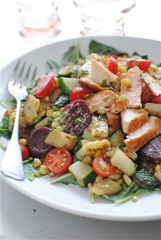 Seared Salmon Salad with Kale and Garden Vegetables--Kale is so tasty and salmon is a good protein choice.