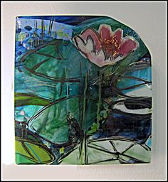"Water Flower fused glass for the wall, tiny at 6"" x 6"""