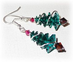 Christmas Tree Earrings Christmas Earrings Holiday by livelovebead
