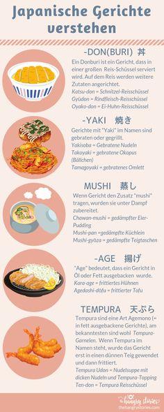 Infografik: Japanische Gerichte verstehen This infographic will help you to understand the Japanese dishes on the menu. Japanese Dishes, Japanese Food, Chinese Food, Ramen, Japanese Lifestyle, Japan Travel, Street Food, Asian Recipes, Bento Box
