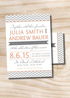 MODERN CHEVRON Invitation/Response Card  by PaperHeartCompany