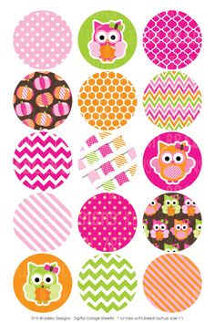 Pumpkin Owl Pink Digital Bottle Cap Images – Erin Bradley/Ink Obsession Designs