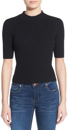 7f1e5a36bbfc A ribbed mock-neck pullover sweater with a sleek vibe is cut with elbow  sleeves and a slightly cropped length.