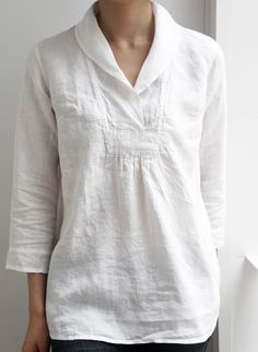 4 Sleeve Simple & Basic Shirts & Tops is part of Linen dresses - 4 Sleeve Simple & Basic Blouses online Discover unique designers fashion at momolic com Sewing Blouses, Cotton Blouses, Cotton Linen, Linen Tops, Blouse En Lin, Summer Tunics, Linen Blouse, Linen Tunic, Collar Blouse